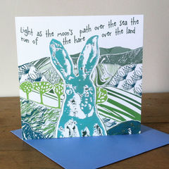 The,Hare,(green),-,pack,of,4,greetings,cards,Greetings cards, the hare, cuckoo tree, Isle of Skye, Denise Huddleston, Cuckoo Tree Studio, Greetings Cards, green,