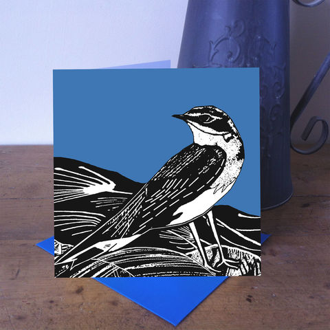 Summer,Visitor,-,Wheatear,(denim,blue),pack,of,4,greetings,cards,SOLD,OUT,Greetings cards, summer visitor, cuckoo tree, Isle of Skye, Denise Huddleston, Cuckoo Tree Studio, Greetings Cards, green,