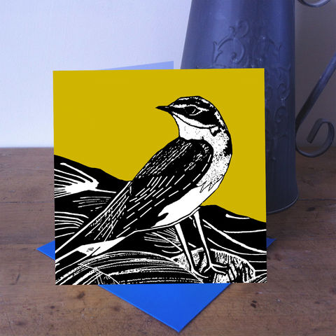 Summer,Visitor,-,Wheatear,(vintage,yellow),pack,of,4,greetings,cards,Greetings cards, summer visitor, cuckoo tree, Isle of Skye, Denise Huddleston, Cuckoo Tree Studio, Greetings Cards, green,