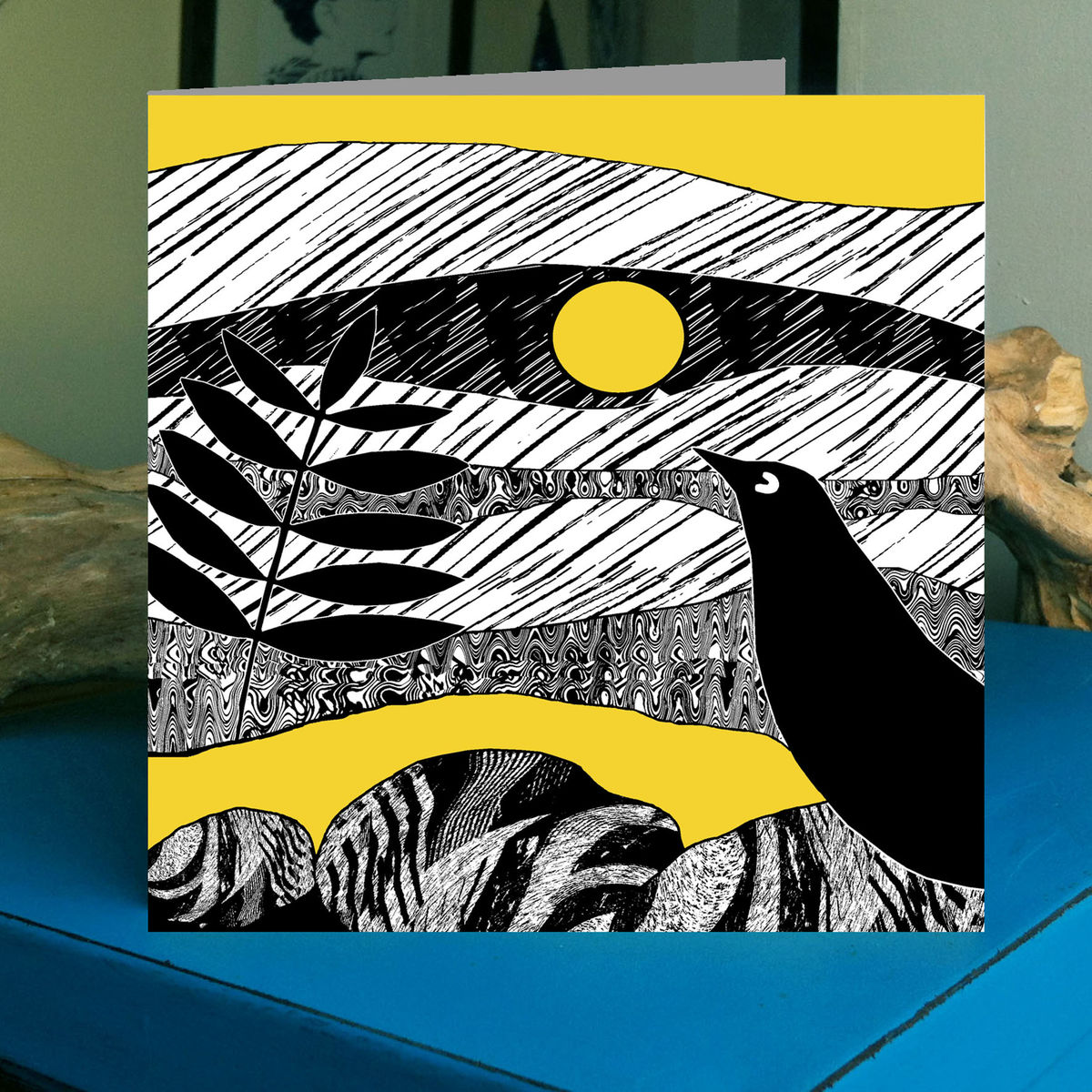 Blackbird - golden yellow - pack of 4 greetings cards - product image