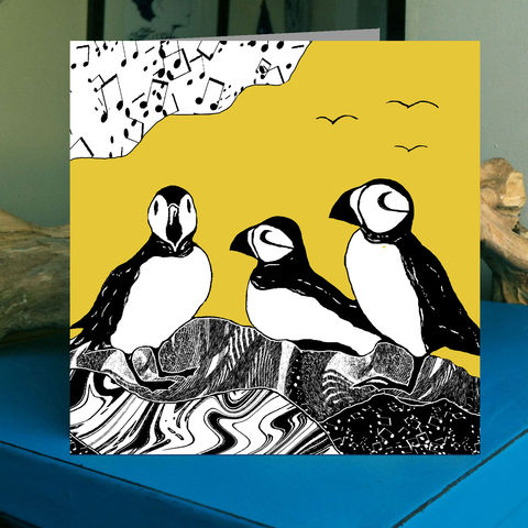 Puffins,-,vintage,yellow,pack,of,4,greetings,cards,Greetings cards, bird, puffins, cuckoo tree, Isle of Skye, Denise Huddleston, Cuckoo Tree Studio, Greetings Cards, green,