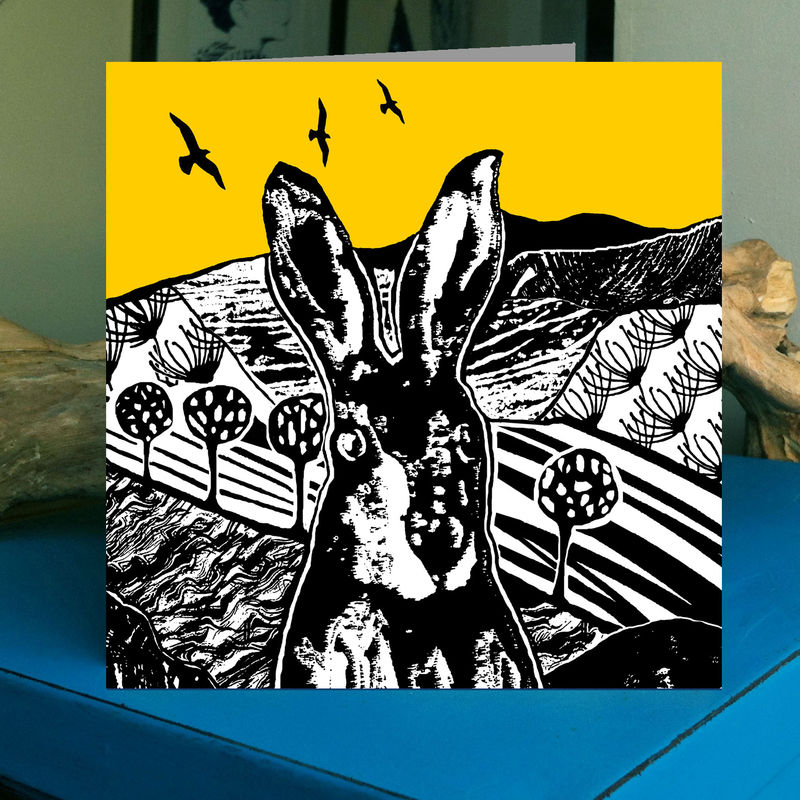 Croft Hare (golden yellow) - pack of 4 greetings cards - product image