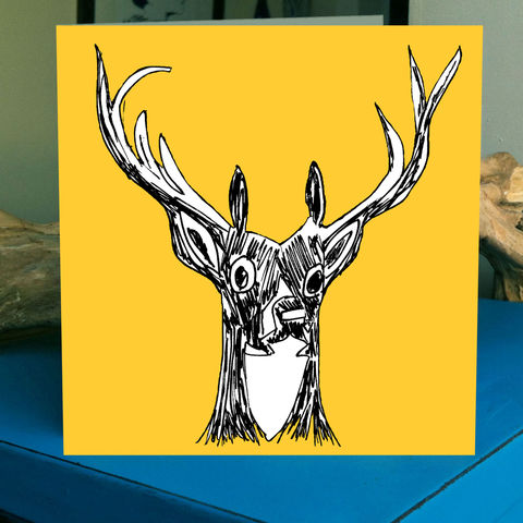My,Deer,(yellow),-,pack,of,4,greetings,cards,Greetings cards, my deer, yellow, cuckoo tree, Isle of Skye, Denise Huddleston, Cuckoo Tree Studio, Greetings Cards,