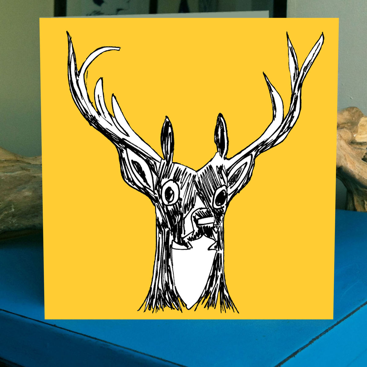 My Deer (yellow) - pack of 4 greetings cards - product image