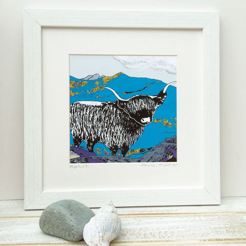 HIGHLAND,,kingfisher,blue,-,Limited,Edition,Giclee,Print,cuckoo tree studio,cuillin,waternish gallery,highland cow print,denise huddleston,isle of skye art,giclee print,isle of skye,print,made in scotland,designed and made on the isle of skye,highland print,highland picture,scottish art,skye art trail,SLAC