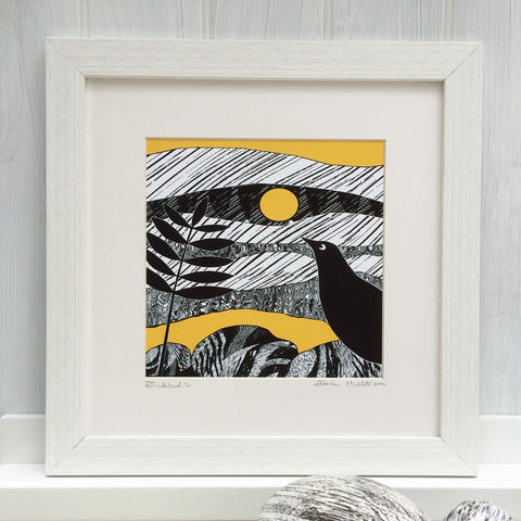 BLACKBIRD,-,yellow.,Limited,Edition,Giclee,Print,giclee print,art print,cuckoo tree studio,denise huddleston,isle of skye, scottish art,skye art,birds,blackbird