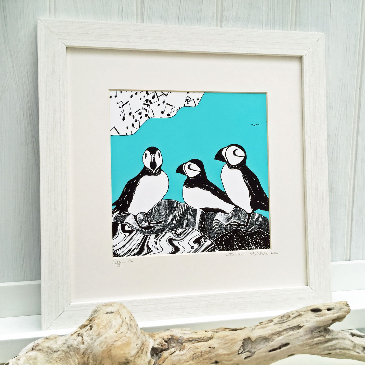 PUFFINS, teal - Limited Edition Giclee Print - product images  of