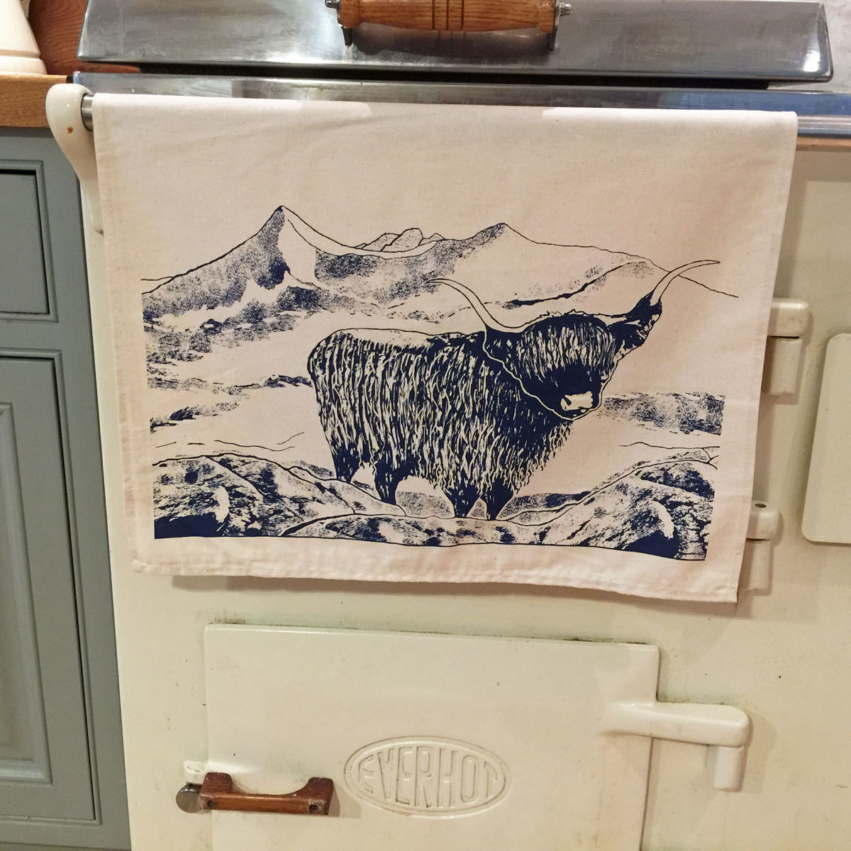 'Highland' handprinted tea towel - product images  of