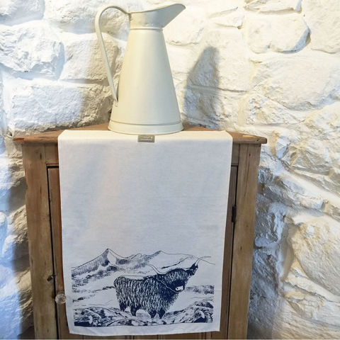 'Highland',handprinted,tea,towel,denise huddleston, cuckoo tree studio, cuckoo tree, isle of skye, highland cow tea towel,