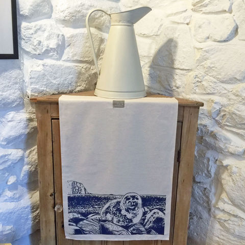 'Seal',handprinted,tea,towel,denise huddleston, cuckoo tree studio, cuckoo tree, isle of skye, coastal tea towel, seal tea towel