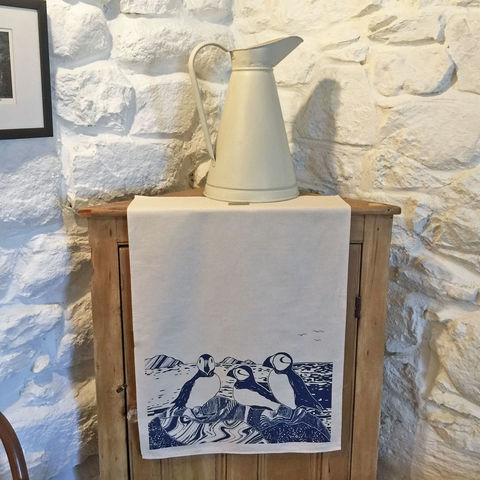 'Puffins',handprinted,tea,towel,denise huddleston, cuckoo tree studio, cuckoo tree, isle of skye, coastal tea towel, puffins tea towel