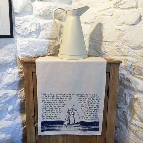 'Sea,Fever',handprinted,tea,towel,denise huddleston, cuckoo tree studio, cuckoo tree, isle of skye, coastal tea towel, sea fever tea towel