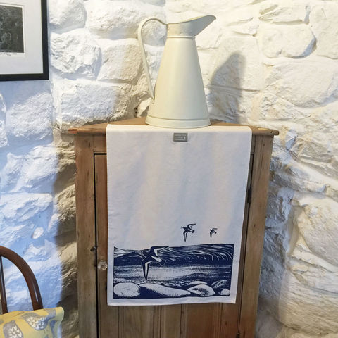 'By,the,Loch',handprinted,tea,towel,denise huddleston, cuckoo tree studio, cuckoo tree, isle of skye, coastal tea towel, oystercatcher tea towel