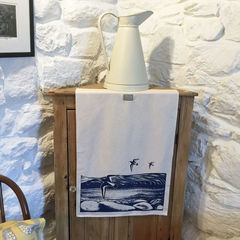 'By,the,Loch',handprinted,tea,towel,**SOLD,OUT,denise huddleston, cuckoo tree studio, cuckoo tree, isle of skye, coastal tea towel, oystercatcher tea towel