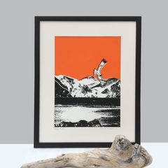 'Skye,Fall,-,tangerine',original,artwork,screenprint, original art, golden eagle, eagle, isle of skye, scotland, highlands