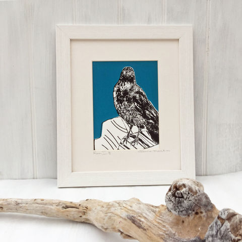 'Raven,-,teal',original,artwork,screenprint, original art, raven, neist point, bird picture, isle of skye, scotland, highlands