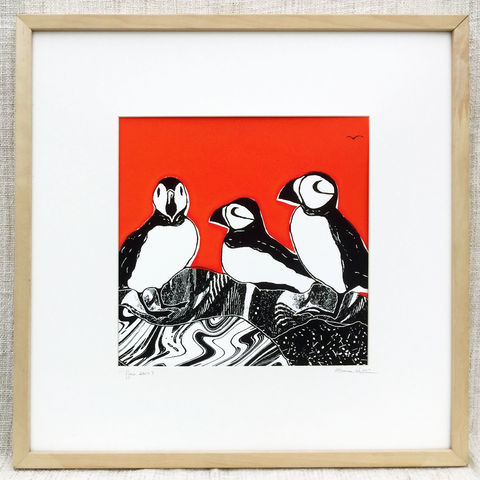'Puffins-flame',original,artwork,screenprint, original art, puffins,skye birds, isle of skye, isle of skye artist, denise huddleston, cuckoo tree studio, eagle, scotland, highlands