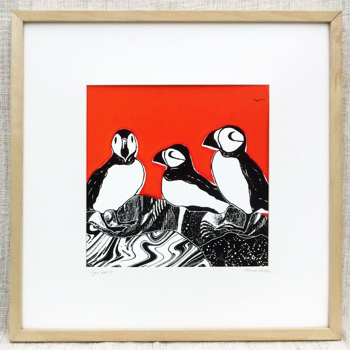 'Puffins-flame' original artwork - product images  of