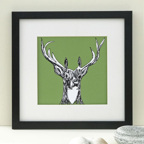 MY,DEER,,green,-,Limited,Edition,Giclee,Print,giclee print, green, my deer, artwork, scottish art, wildwildlife art, denise huddleston, cuckoo tree, wildlife print, scottish highlands, teal print, red deer, red deer print, deer print, deer artwork.