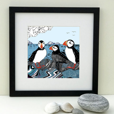 PUFFINS,-,Limited,Edition,Giclee,Print,giclee print,art print,cuckoo tree studio,denise huddleston,isle of skye, scottish art,skye art,birds,puffins