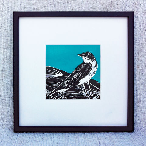 'Wheatear,,teal',-,original,artwork,screenprint, original art, wheatear,skye birds, isle of skye, isle of skye artist, denise huddleston, cuckoo tree studio, eagle, scotland, highlands