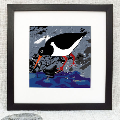 SHORE,-,Limited,Edition,Giclee,Print,giclee print,art print,cuckoo tree studio,denise huddleston,isle of skye, scottish art,skye art,birds,contemporary art,waternish,oystercatcher
