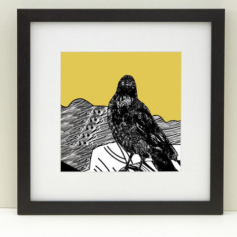 RAVEN,,vintage,yellow,-,Limited,Edition,Giclee,Print,gifts, cuckoo tree, cuckootree, bird print, vintage yellow, cuckoo tree studio, raven, black, white, denise huddleston, giclee print, isle of skye, print, scottish art