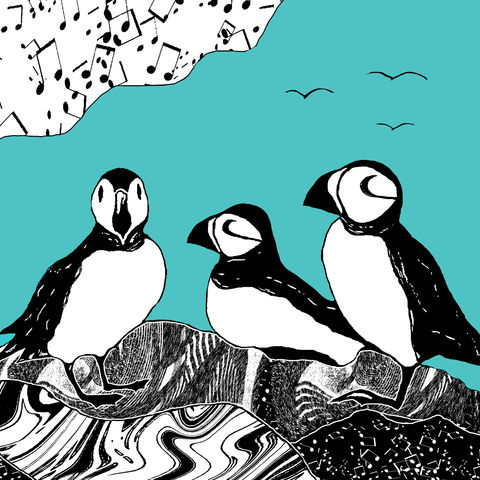 PUFFINS,,teal,-,Limited,Edition,Giclee,Print,giclee print,art print,cuckoo tree studio,denise huddleston,isle of skye, scottish art,skye art,birds,puffins