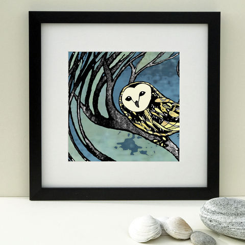 BARN,OWL,-,blue.,Limited,Edition,Giclee,Print,giclee print, denise huddleston, cuckoo tree, cuckoo tree studio, isle of skye, skye art, scottish art, barn owl picture, barn owl, bird print, blue art print
