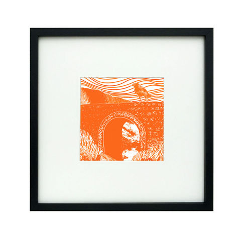 'Fairy,Bridge',,tangerine/flame,-,original,artwork,screenprint, original art, fairy bridge, raven, isle of skye, scotland, highlands