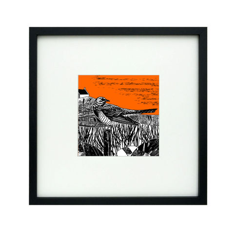 'Cuckoo',-,tangerine,original,artwork,screenprint, original art, cuckoo, bird print, isle of skye, scotland, highlands, tangerine, orange