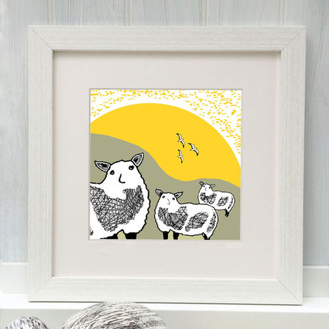 SPRING,FLOCK,-,Limited,Edition,Giclee,Print,cuckoo tree, cuckoo tree studio, sheep, denise huddleston, giclee print, coastal, coastal artwork, sea, shore, hebrides, gannets print, seabirds artwork.
