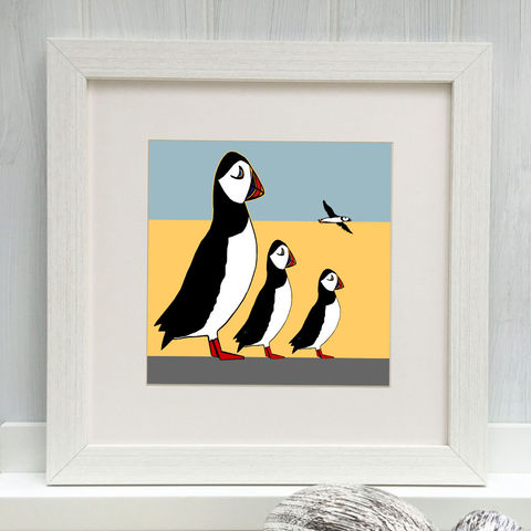 PUFFIN,FAMILY,-,Limited,Edition,Giclee,Print,cuckoo tree, cuckoo tree studio, puffins, denise huddleston, giclee print, coastal, coastal artwork, sea, shore, hebrides, gannets print, seabirds artwork.