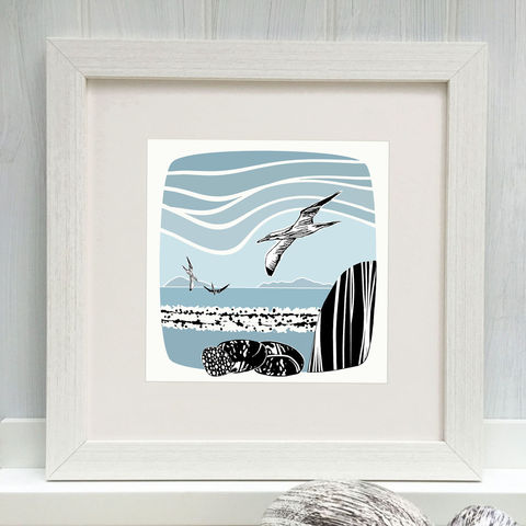 LOCHBAY,GANNETS,-,Limited,Edition,Giclee,Print,cuckoo tree, cuckoo tree studio, denise huddleston, giclee print, coastal, coastal artwork, sea, shore, hebrides, gannets print, seabirds artwork.