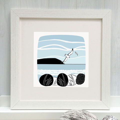 WATERNISH,SUNDAY,-,Limited,Edition,Giclee,Print,cuckoo tree, cuckoo tree studio, denise huddleston, giclee print, coastal, coastal artwork, sea, shore, hebrides, gannets print, seabirds artwork.