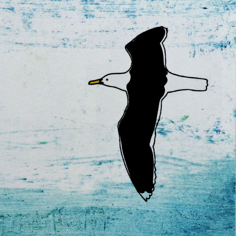 Solitary Gull - Collagraph SOLD (available as Giclee) - product images  of