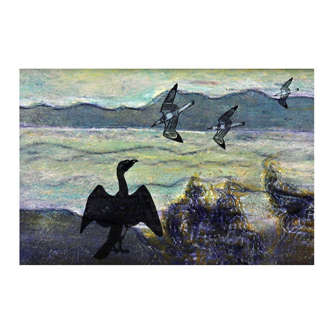 Cormorant,-,Collagraph,collagraph, screenprint, birds, original art, coastal art, isle of skye, scotland, highlands, denise huddleston