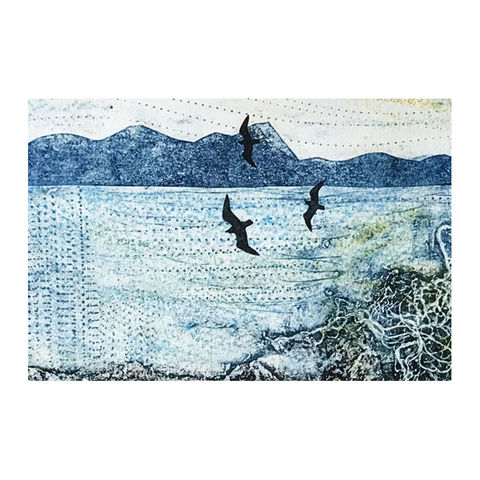 March,-,Collagraph,collagraph, screenprint, birds, original art, coastal art, isle of skye, scotland, highlands, denise huddleston