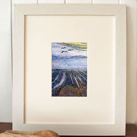 Skye,Bay,-,Collagraph,collagraph, skye bay,screenprint, birds, original art, coastal art, isle of skye, scotland, highlands, denise huddleston