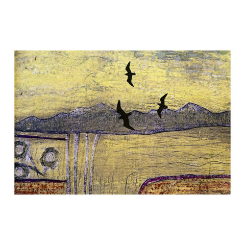 May,-,Collagraph,collagraph, screenprint, birds, original art, coastal art, isle of skye, scotland, highlands, denise huddleston