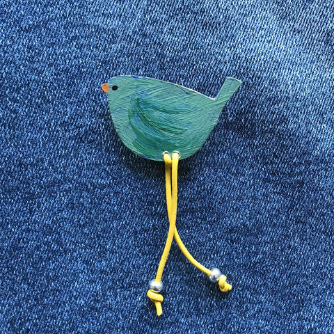 'Woody',Bird,Brooch,1.,Skye, Isle of Skye, jewellery, brooch, denise huddleston, isle of skye jewellery, fun, hand painted, wooden