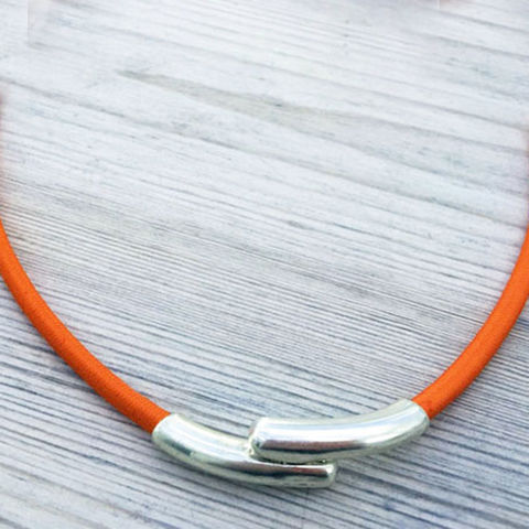 Island,Collection,-,Tangerine,textile,necklace,Skye, Isle of Skye, jewellery, necklace, denise huddleston, isle of skye jewellery, orange necklace