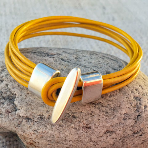 Leather,-,yellow,leather,cuff,Skye, Isle of Skye, jewellery, necklace, denise huddleston, isle of skye jewellery, leather, yellow