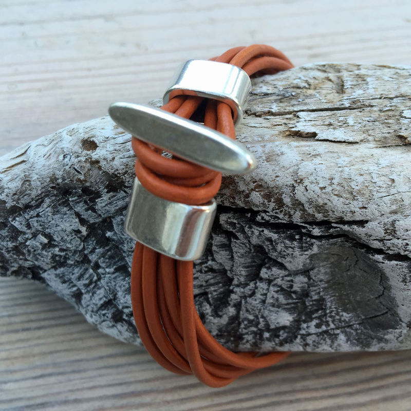 Leather -  terracotta leather cuff - product images  of
