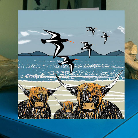 Highland,Family,-,pack,of,4,greetings,cards,Greetings cards, highland cows, oystercatchers, western isles, Isle of Skye, Denise Huddleston, Cuckoo Tree Studio, Greetings Cards, Coastal