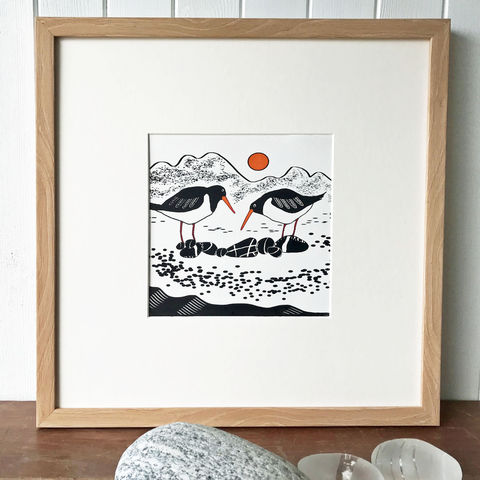 'Beach,Boys',original,silkscreen,print,Beach Boys, cuckoo tree studio, denise huddleston, scottish art, isle of skye art, silkscreen print, beach boys, contemporary art, oystercatchers, limited edition, original art, isle of skye, glen brittle, chilling mountains, chilling, scotland, highlands