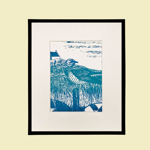 'Skye,Cuckoo',-,variegated,blues,original,artwork,screenprint, original art, cuckoo, bird print, isle of skye, scotland, highlands, denise huddleston, west coast, original, art, scottish art.