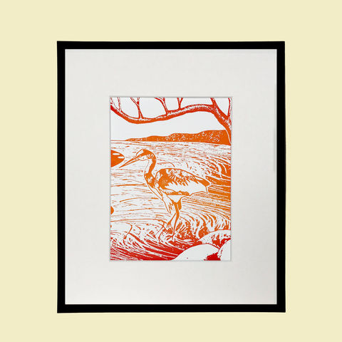 'Loch,Heron',-,variegated,tangerine,original,artwork,screenprint, orange, tangerine, original art, cuckoo, bird print, isle of skye, scotland, highlands, denise huddleston, west coast, original, art, scottish art.