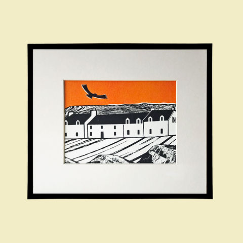 'Island,Inn,,tangerine',-,original,artwork,screenprint, original art, stein, stein inn, eagle, isle of skye, scotland, highlands, denise huddleston, cuckoo tree studio, waternish