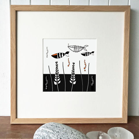 'Something,Fishy',original,silkscreen,print,Something Fishy, cuckoo tree studio, denise huddleston, scottish art, isle of skye art, silkscreen print, beach boys, contemporary art, oystercatchers, limited edition, original art, isle of skye, glen brittle, cuillin mountains, scotland, highlands, deni